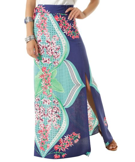 Saia Longa Estampada Flora Dress To Azul Marinho