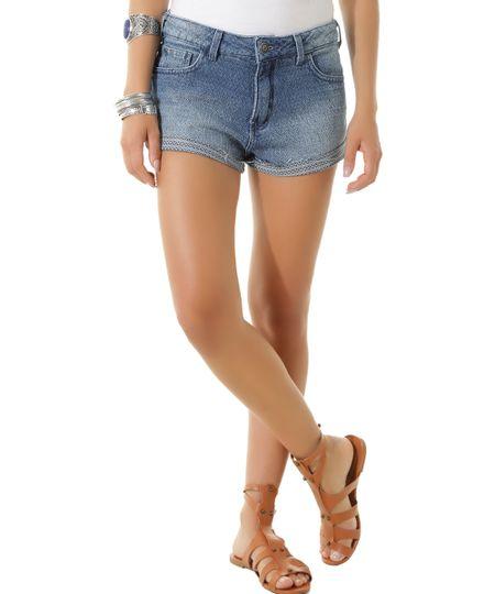 Short Jeans em Jacquard Dress To Azul Médio