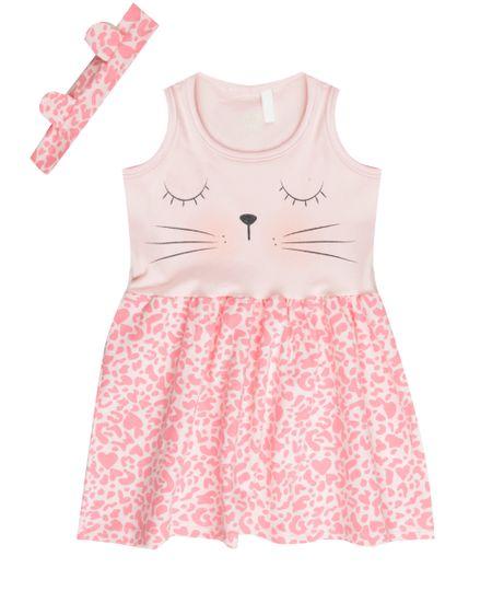 Vestido Estampado Animal Print + Faixa de Cabelo Rosa Claro