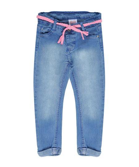 Calça Jeans com Cinto Azul Médio