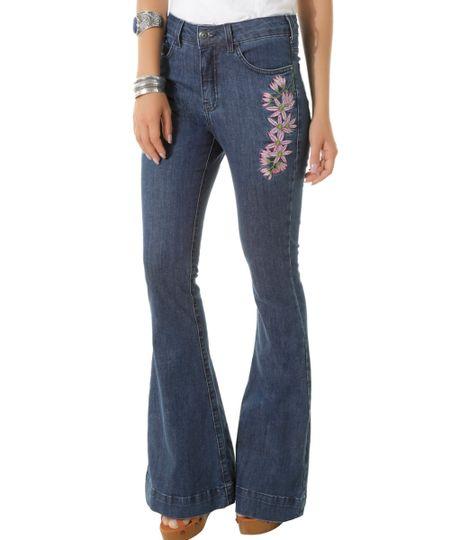 Calça Jeans Flare com Bordados Dress To Azul Escuro