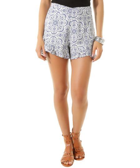 Short Estampado Azulejo Dress To Branco