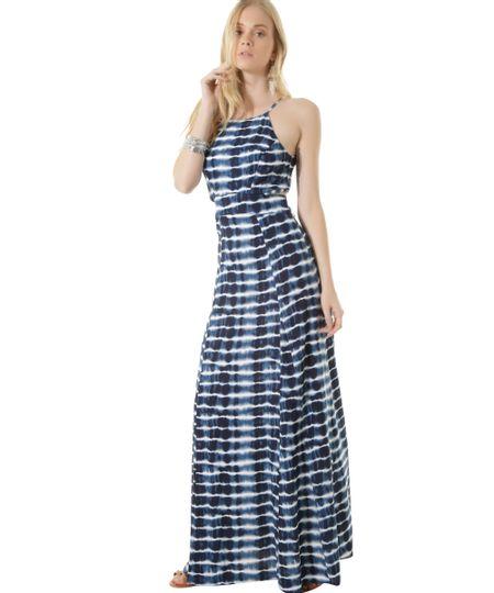 Vestido Longo Estampado Brisa Dress To Azul Marinho