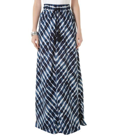 Saia Longa Estampada Brisa Dress To Azul Marinho