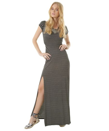 Vestido Longo Listra Dress To Preto