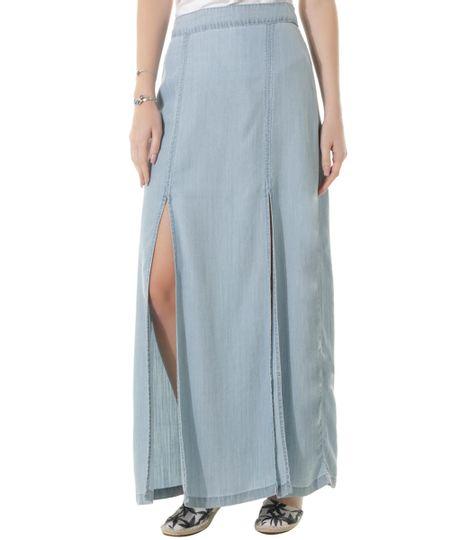Saia Longa Jeans Dress To Azul Claro