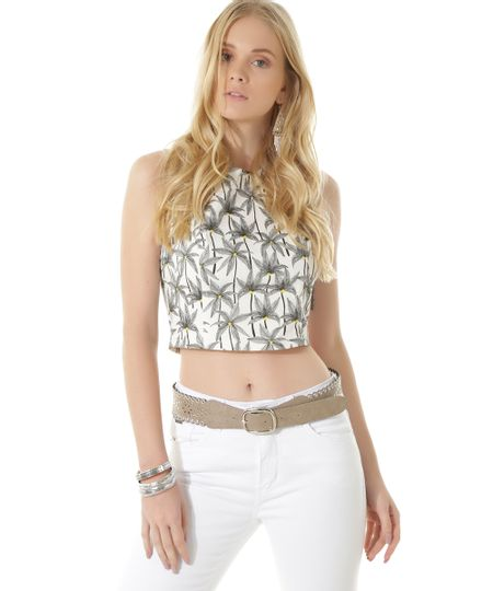 Regata Cropped Estampada Coqueiros Dress To Off White