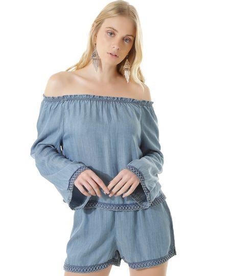 Blusa Ombro a Ombro Jeans com Bordado Dress To Azul Médio