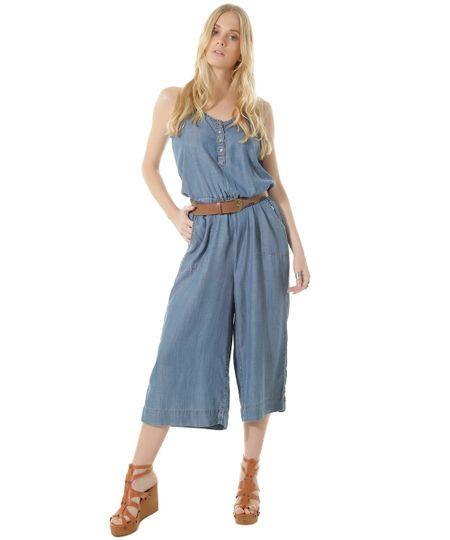 Macacão Pantacourt Jeans Dress To Azul Claro