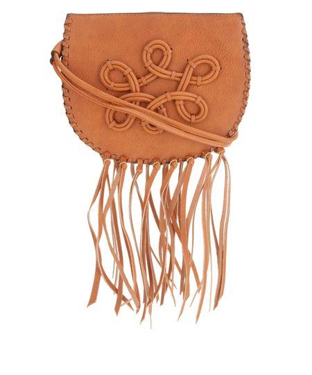 Bolsa Transversal com Franjas Dress To Caramelo