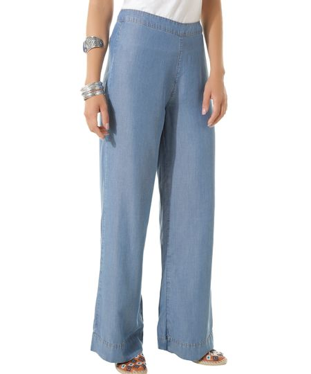 Calça Pantalona Jeans Dress To Azul Médio