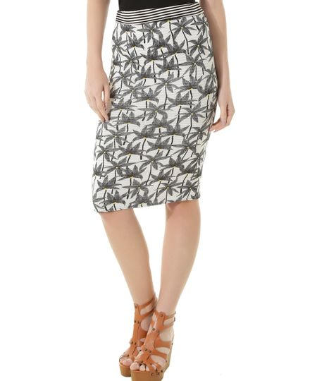 Saia Midi Dupla Face Estampada Coqueiros Dress To Off White