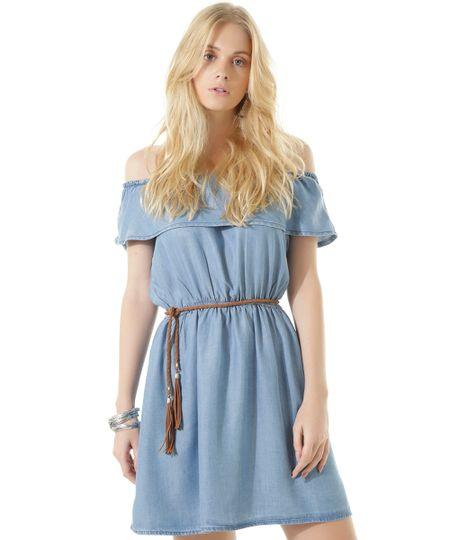 Vestido Ombro a Ombro Jeans Dress To Azul Claro