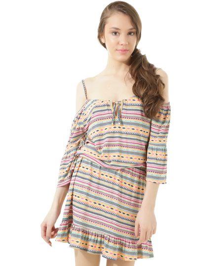 Vestido Open Shoulder Estampado Étnico Dress To Rosa