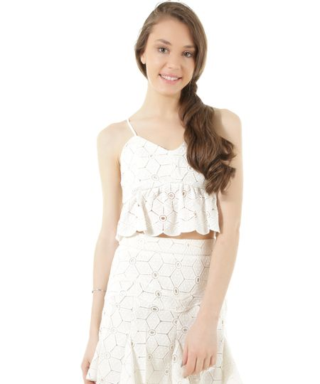 Regata Cropped em Renda Dress To Off White