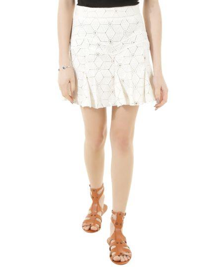 Saia Evasê em Renda Dress To Off White