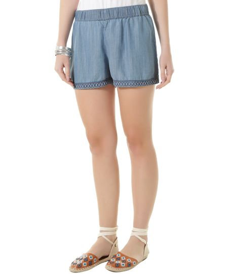 Short Jeans com Bordado Dress To Azul Médio