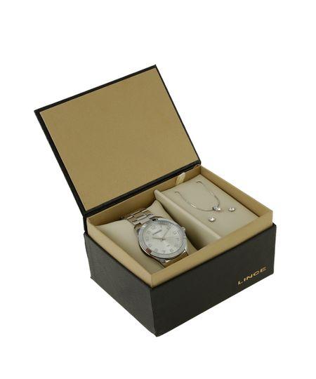 Kit de Relógio Lince Feminino Analógico + Colar + Brinco - LRM4342L-S2SX Prateado