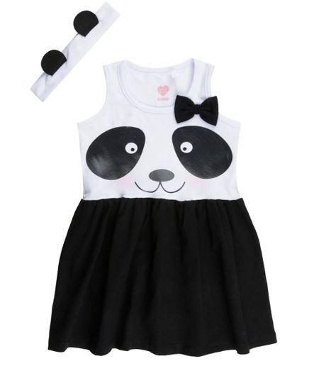 Vestido com Estampa de Panda  Branco