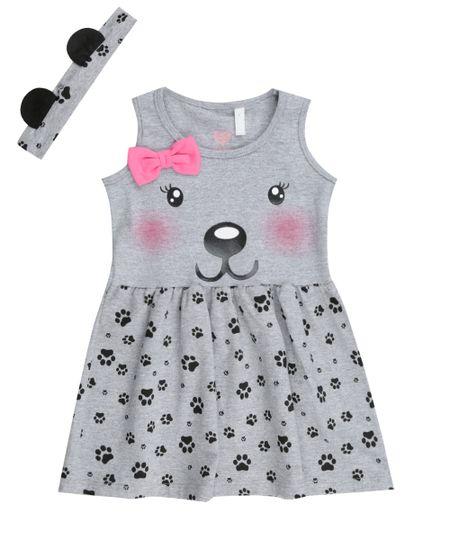Vestido Estampado Urso + Faixa de Cabelo  Cinza Mescla