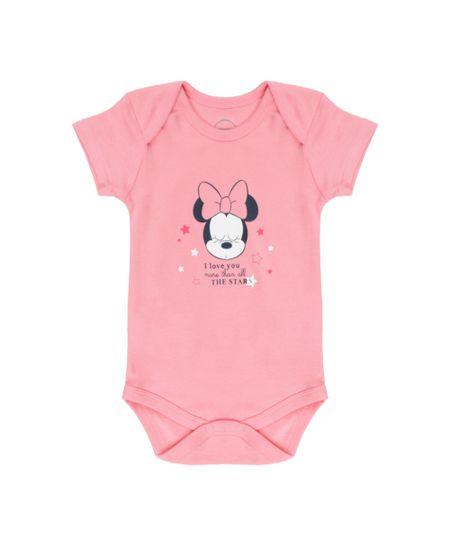 Body Minnie em Algodão + Sustentável Rosa