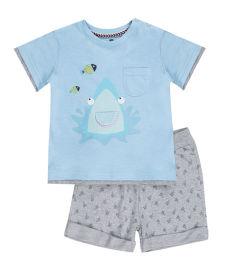 Conjunto de Camiseta Azul Claro + Bermuda Cinza Mescla