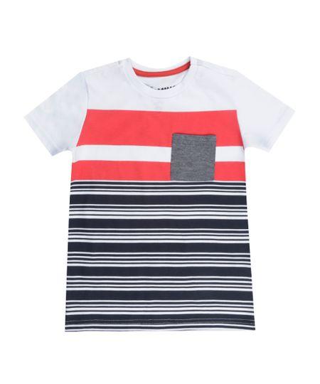 Camiseta com Listrada Branca