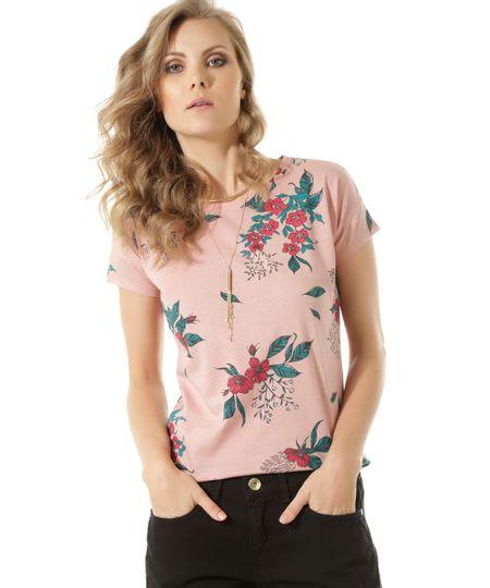 Blusa Estampada Floral Rosa Claro