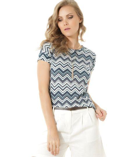 Blusa Estampada Geométrica Azul Marinho