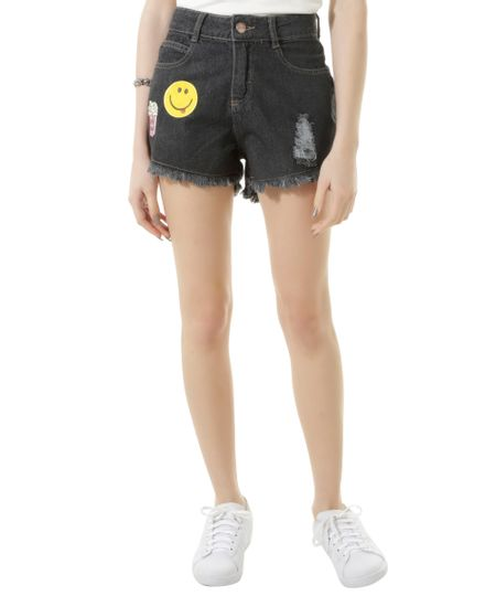 Short Jeans com Patch Azul Escuro