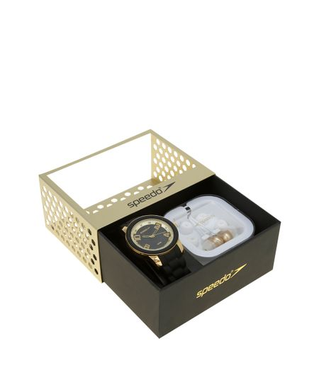 Kit de Relógio Analógico Speedo Masculino + Fone de Ouvido - 64008LPEVDI2K1 Preto