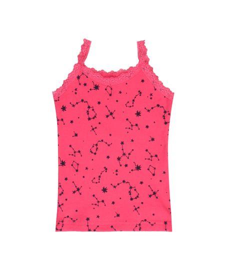 Regata Estampada de Constelação com Renda Pink
