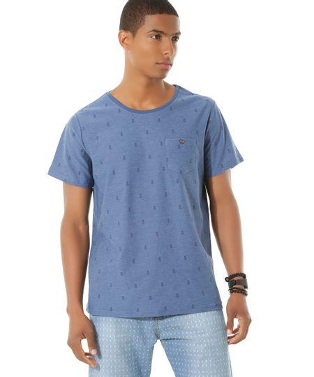 Camiseta Estampada de Abacaxis Azul