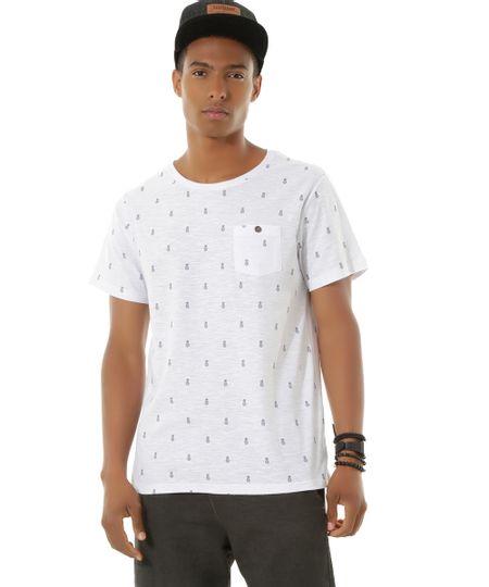 Camiseta Estampada de Abacaxis Branca