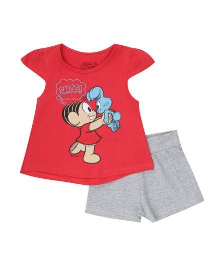 Conjunto de Blusa Vermelha + Short Monica Cinza Mescla