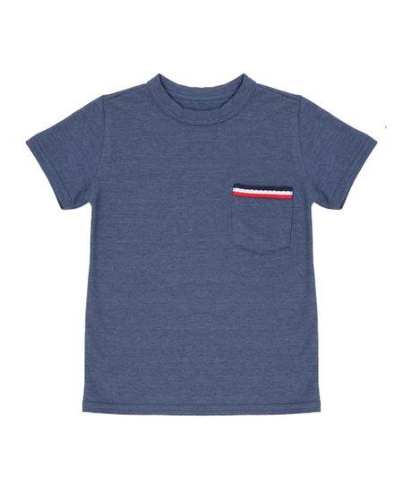Camiseta em Piquet Azul Escuro