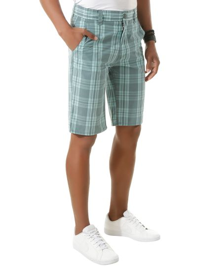 Bermuda Slim Xadrez Verde