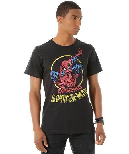 Camiseta Homem Aranha Preta