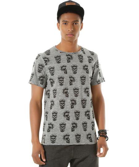 Camiseta Estampada de Caveiras Cinza Mescla