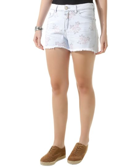 Short Hot Pant Jeans com Bordado Azul Claro