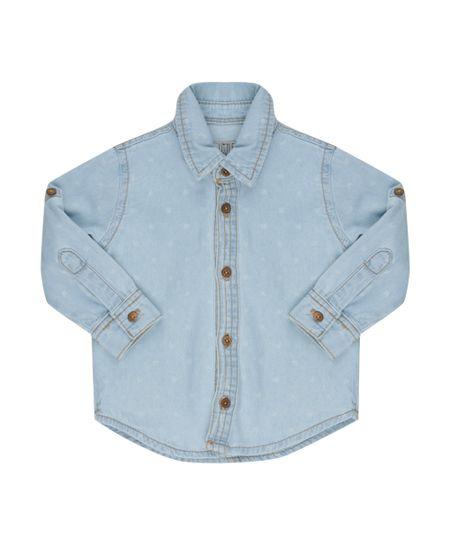 Camisa Jeans Estampada de Pássaros Azul Claro