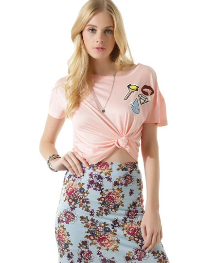 Blusa Cropped com Patch Rosa Claro