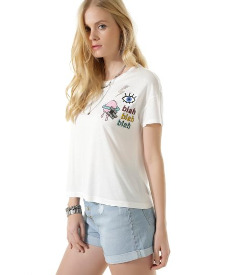 Blusa Cropped com Patch Off White