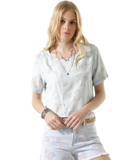 Blusa Jeans Cropped Floral Azul Claro