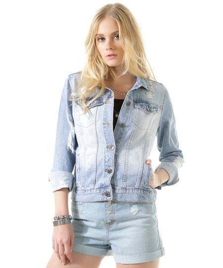 Jaqueta Jeans Azul Claro
