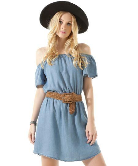 Vestido Jeans Ombro a Ombro Azul Médio