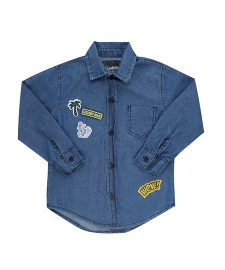 Camisa Jeans com Patchs Azul Médio