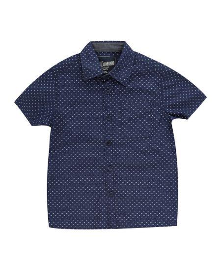 Camisa Estampada de Poás Azul Marinho