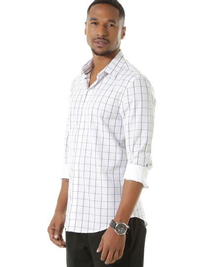 Camisa Social Slim Xadrez Branca