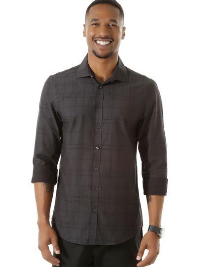 Camisa Social Slim Xadrez Preta